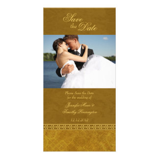 Autumn fall green vintage elegant save the date photo card