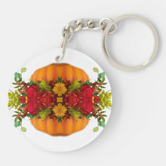 AUTUMN FALL HARVEST COLORS PUMPKIN  KALEIDOSCOPE Double-Sided ROUND ACRYLIC KEY RING