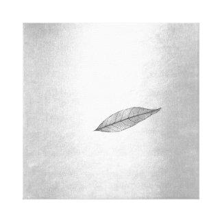 Autumn Fall Impressions Silver Black Leaf Canvas Print