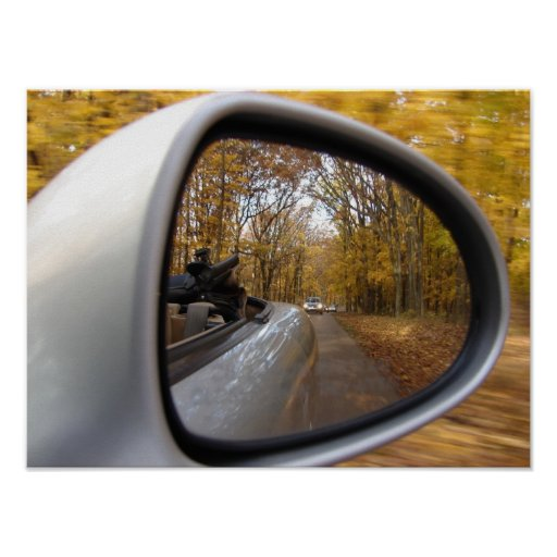 AUTUMN / FALL IN THE REAR VIEW MIRROR SPORTS CAR POSTERS