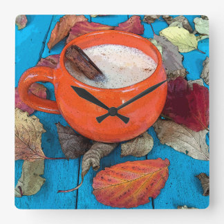 Autumn Fall Latte Wall Clock