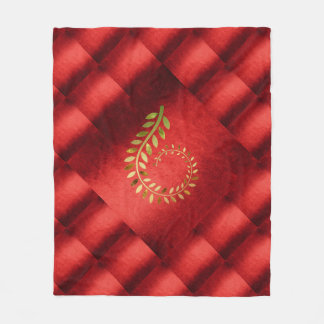 Autumn Fall Leaf Green Gold Red Geometrical Fleece Blanket