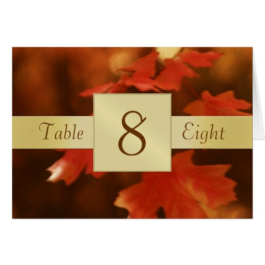 Autumn Fall Leave Table Number Folded Card