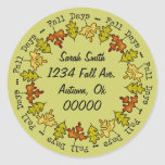 Autumn Fall Leaves Address Label Name Bookplate Round Sticker