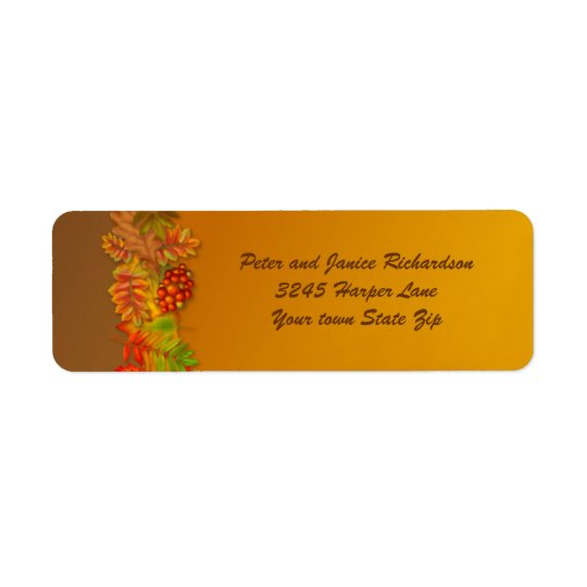 Autumn fall leaves and berries Thanksgiving  Label Return Address Label
