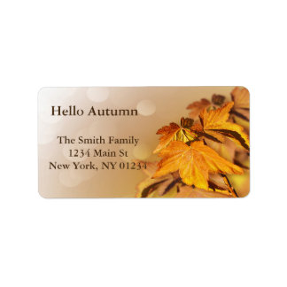Autumn Fall Leaves Bokeh Address Label