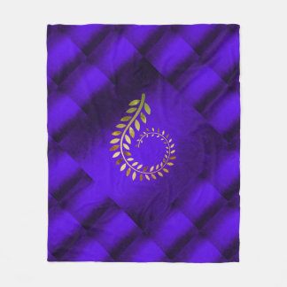Autumn Fall Leaves Green Cobalt Blue Geometrical Fleece Blanket