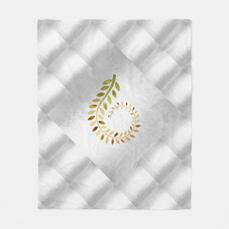 Autumn Fall Leaves Green Gold Silver Geometrical Fleece Blanket