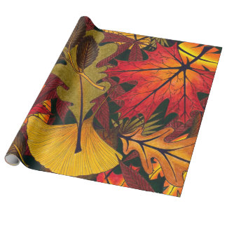 Autumn / Fall Leaves - Linen Wrapping Paper