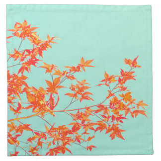 Autumn Fall Leaves on Mint Green Napkin