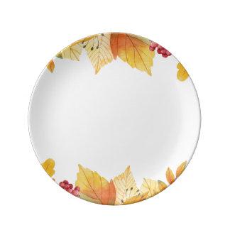 autumn fall leaves plate