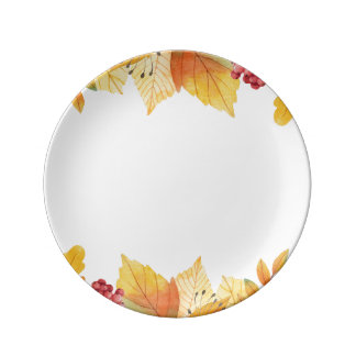 autumn fall leaves porcelain plates