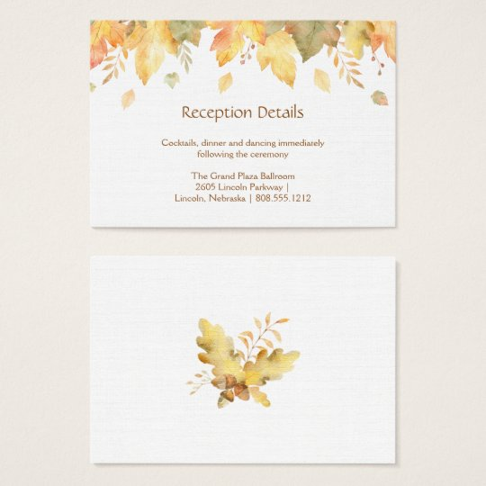 Autumn Fall Leaves Reception Cards |