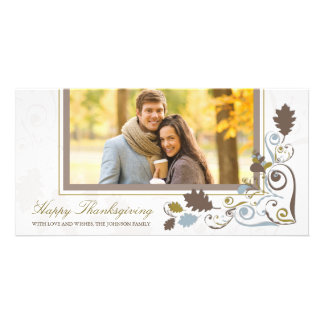 Autumn Fall Leaves Swirls Thanksgiving Holiday Personalized Photo Card