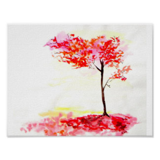 Autumn Fall leaves tree print watercolour