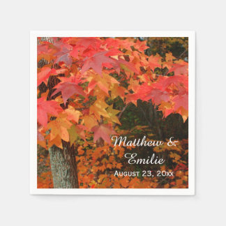 Autumn Fall Leaves Wedding Napkins Paper Napkins
