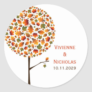 Autumn Fall Leaves Whimsy Pop Tree Wedding Sticker