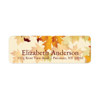 Autumn Fall Maple Leaves Bridal Shower Labels