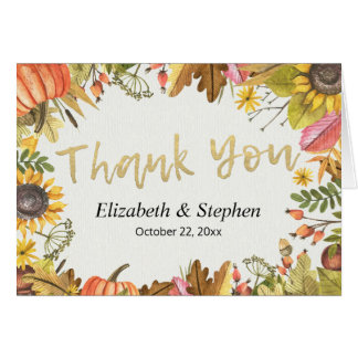 Autumn Fall Maple Leaves Pumpkin Wedding Thank You Card
