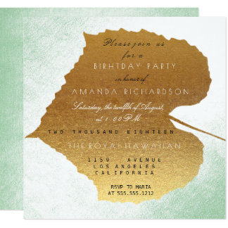 Autumn Fall Mint Golden Leaves Birthday Party 13 Cm X 13 Cm Square Invitation Card