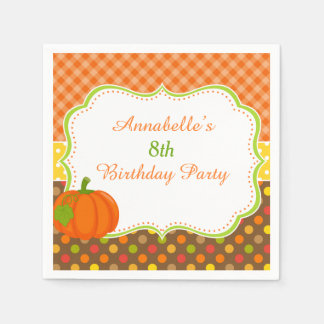 Autumn Fall Pumpkin Birthday Paper Napkins