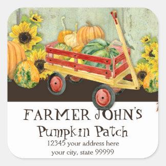 Autumn Fall Pumpkin Patch Harvest Farm Businesses Square Sticker