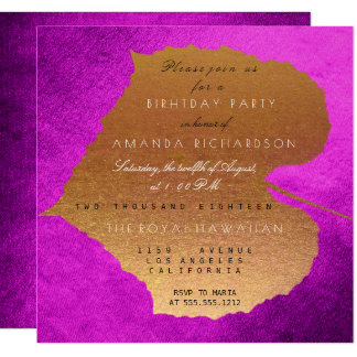 Autumn Fall Purple Golden Leaves Birthday Party 13 Cm X 13 Cm Square Invitation Card