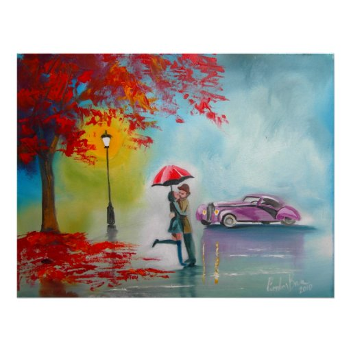 Autumn fall rainy day kissing couple vintage car poster
