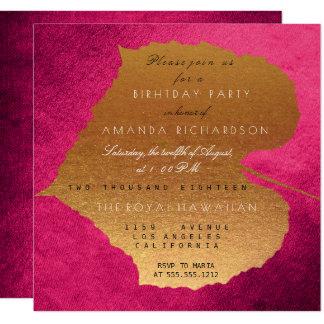 Autumn Fall Raspberry Golden Leaves Birthday Party 13 Cm X 13 Cm Square Invitation Card
