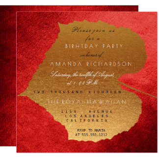 Autumn Fall Red Golden Leaves Birthday Party 13 Cm X 13 Cm Square Invitation Card