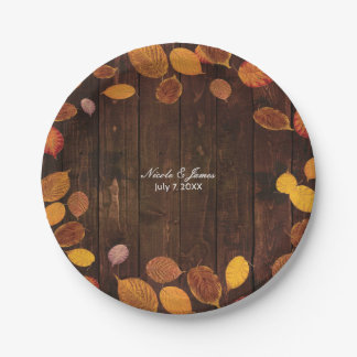 Autumn Fall Rustic Golden Leaves on Wood Wedding 7 Inch Paper Plate