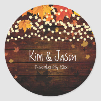 Autumn Fall Rustic Lights Country Favor Stickers