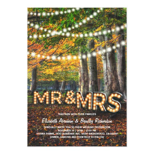 Autumn Fall Rustic Woodland Tree Wedding Card