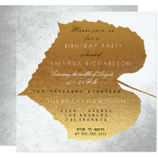 Autumn Fall Silver Golden Leaves Birthday Party 13 Cm X 13 Cm Square Invitation Card