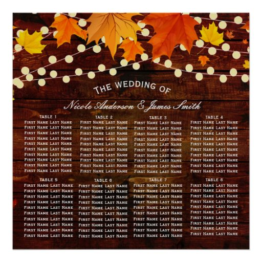 Autumn Fall String Lights Wood Rustic Wedding Seat