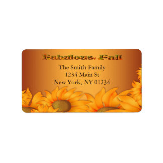 Autumn Fall Sunflowers Label
