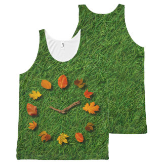 Autumn Fall Tree Leaves Clock With Branches All-Over Print Tank Top