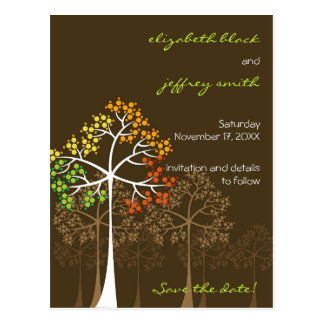 Autumn Fall Trees Brown Save The Date Wedding Postcards