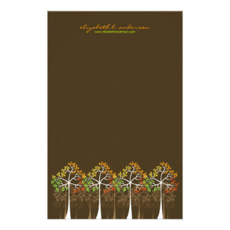 Autumn / Fall Trees on Brown Note Card Stationery