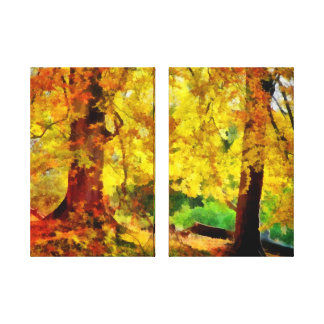 Autumn / Fall Trees Two Panel Stretched Canvas Print