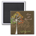 Autumn Fall Trees Woodland Wedding Save The Date Square Magnet