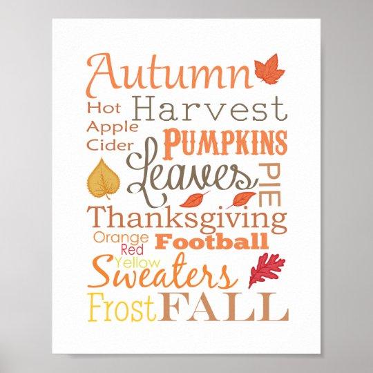 Autumn Fall Typography Wall Art