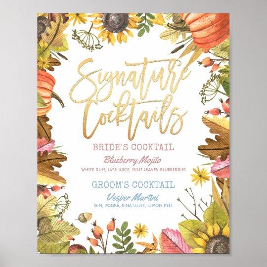 Autumn Fall Wedding Signature Cocktail Drink Menu Poster