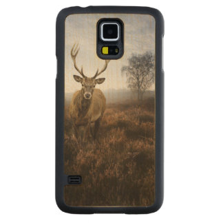 Autumn Fall with beautiful red deer stag Carved Maple Galaxy S5 Case