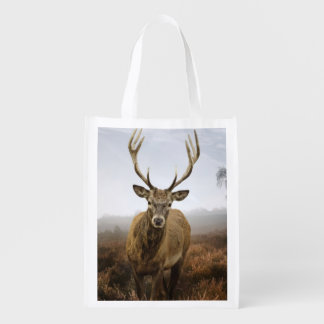 Autumn Fall with beautiful red deer stag Reusable Grocery Bag