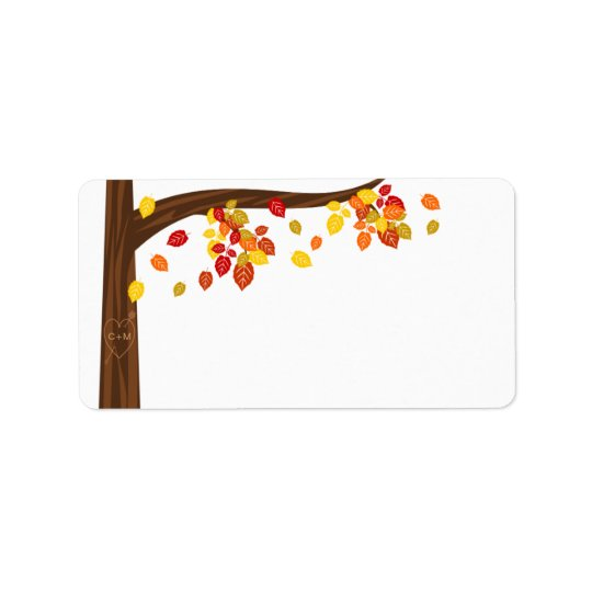 Autumn Falling Leaves Blank Address Labels
