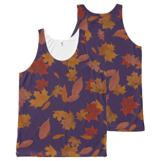 Autumn Falling Leaves on Custom Blue All-Over Print Tank Top