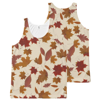 Autumn Falling Leaves on Custom Cream All-Over Print Tank Top