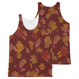 Autumn Falling Leaves on Custom Wine Red All-Over Print Tank Top