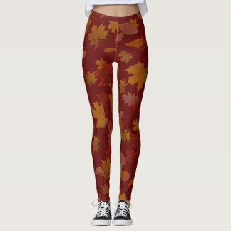 Autumn Falling Leaves on Custom Wine Red Leggings
